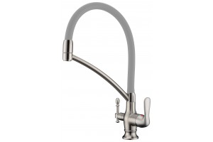 Смеситель для кухни с переключателем на питьевую воду, c  съемным силиконовым шлангом   TL-18023-nickel