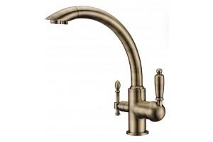 Смеситель для кухни с переключателем на питьевую воду  TL-1517-bronze