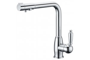Смеситель для кухни с переключателем на питьевую  воду  TL-1554-chrom