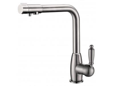 Смеситель для кухни с переключателем на питьевую  воду  TL-1554-nickel