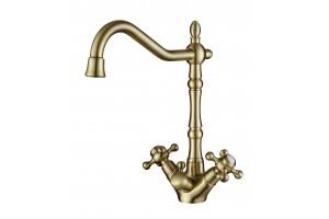 Смеситель для кухни с переключателем на питьевую  воду  TL-66038-bronze