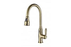Смеситель для кухни сенсорный с выдвижной многорежимной лейкой  TL-18001-bronze